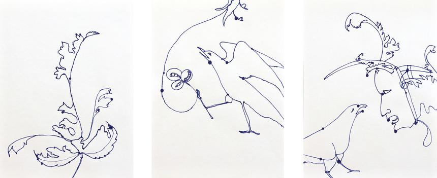 Zoan, Tusche auf Fliesspapier, dreiteilig, je 66 x 50 cm