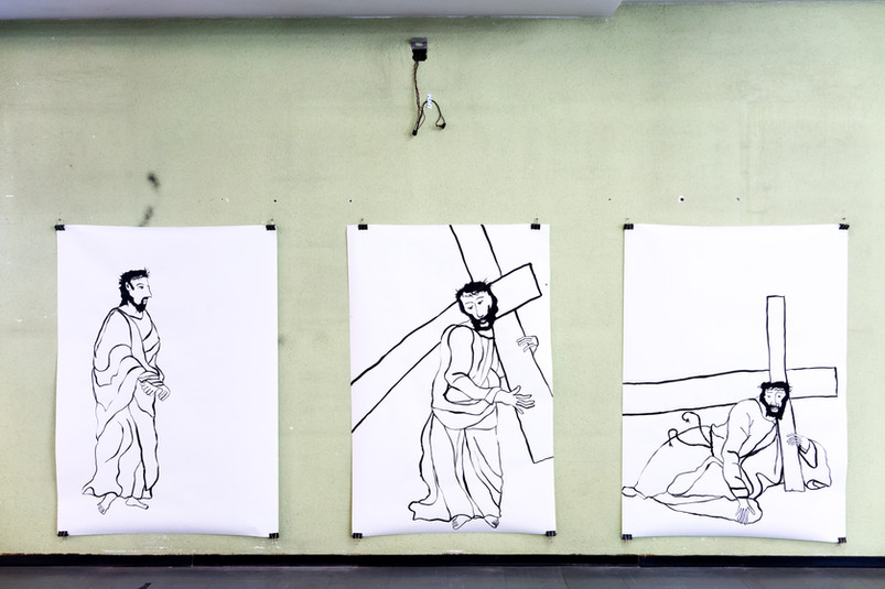 """The first three stations of the Cross, exhibited in the """"Chapele3"""", Acrylic paint on paper, 140 x 90 or 99 cm, 2018"""