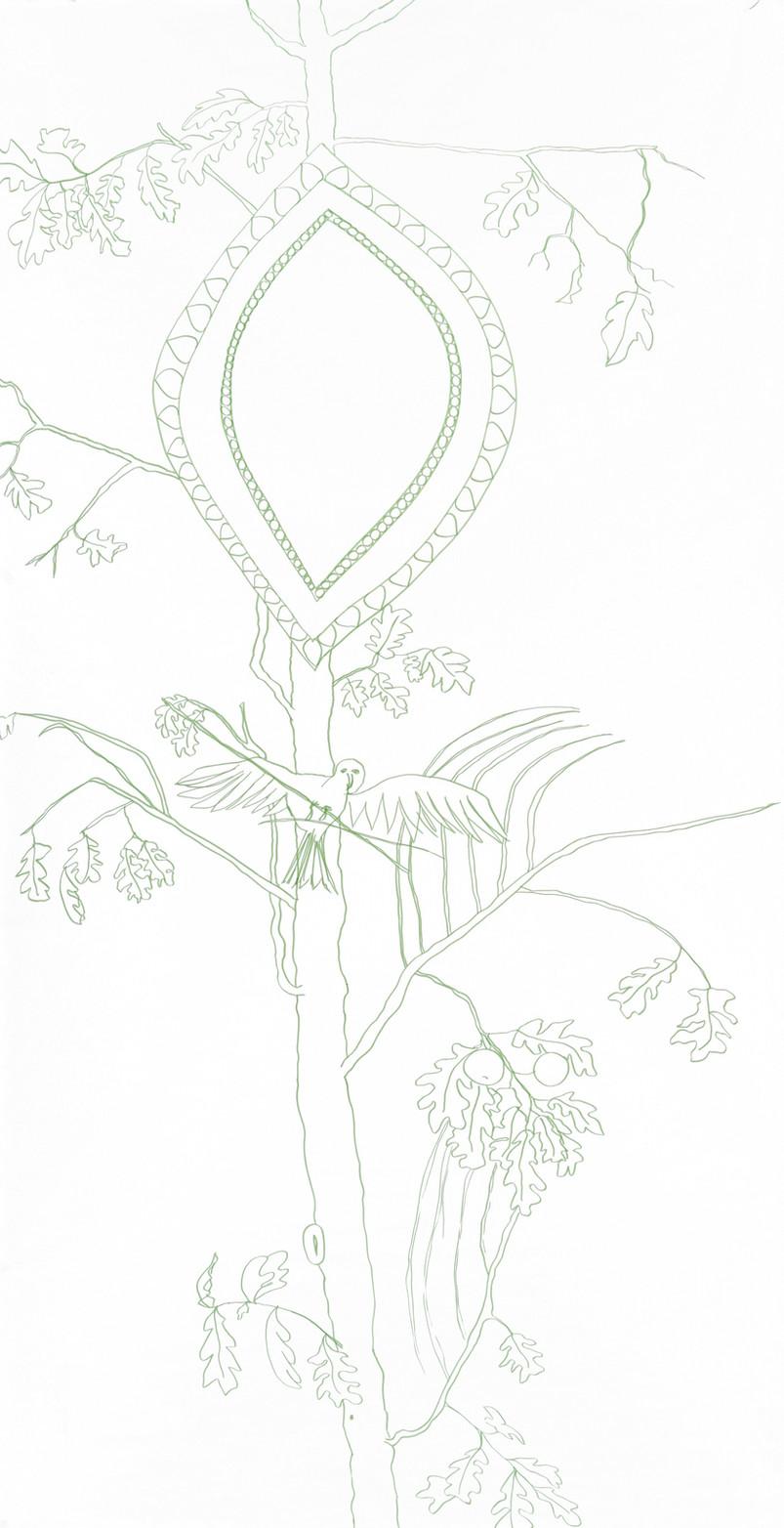 """eichenklar"", felt pen on paper, 235 x 120 cm, 2015"