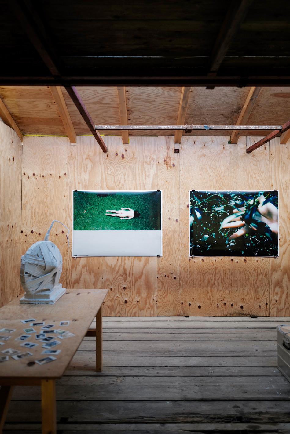 Urban Search, Decadent Rescue, Blow ups of a series of Polaroids, 85 x 120 cm, 2020. Sculpture: Moon Car, ca. 30 x 40 x 60 cm, 2020.