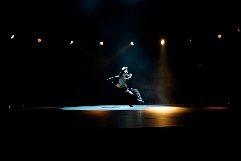 """Picture of Zach Enquist during the rehearsal of """"A Picture of You Falling"""" by Crystal Pite"""