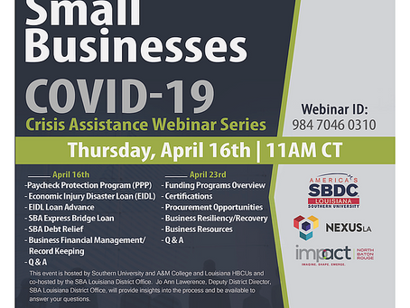 HBCUs Small Business COVID-19 Crisis Assistance Webinar