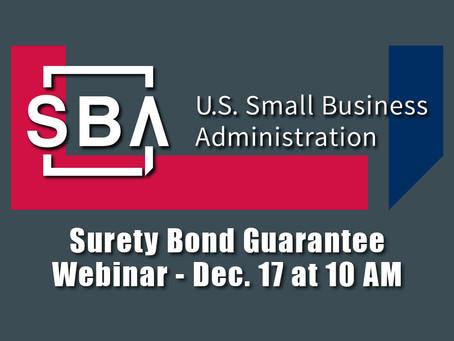 SBA Presents: Surety Bond Guarantee Webinar