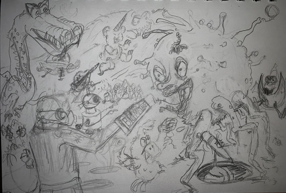 Commander Mark Fights Covid sketch