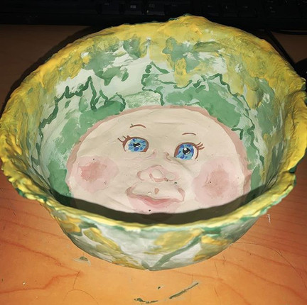 Cabbage patch bowl!!! Ready for the kiln