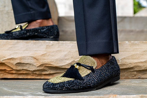 Black & Gold Men Slip On Loafer