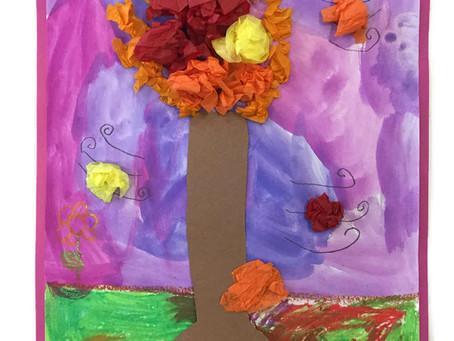 Grade 2: Mixed Media Fall Trees