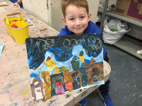 Kindergarten: Wintry Mixed Media Landscapes