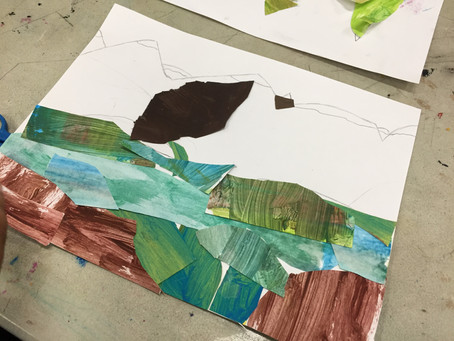 Grade 2 Landscape Collage Process