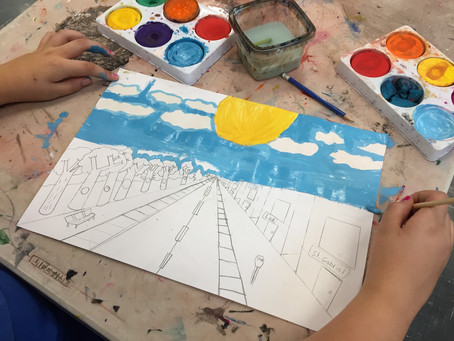 Grade 5: 1-Point Perspective Cityscapes