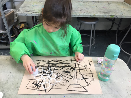 Grade 1 Abstract Stamp Paintings