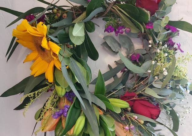 Colorful vinebase wreath.