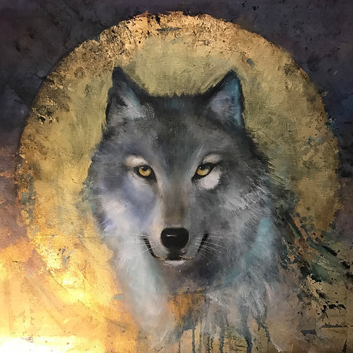 """Wolf Halo"" Print on Canvas"