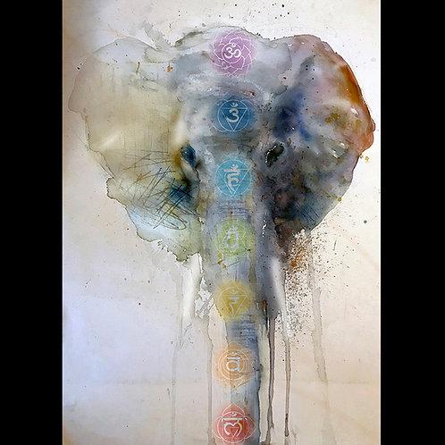 """Elephant-Chakras"" Giclee Print on Canvas"