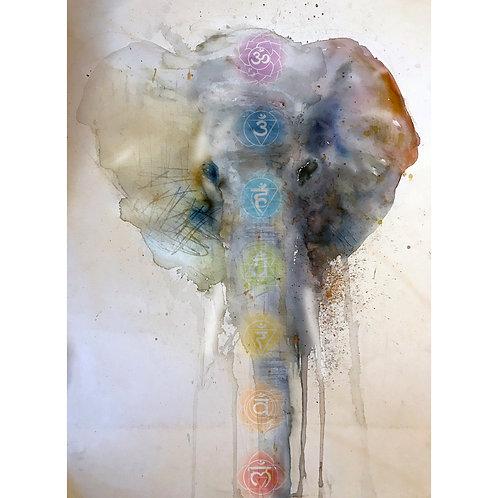"""Elephant-Chakras"" Giclee Print on Paper"