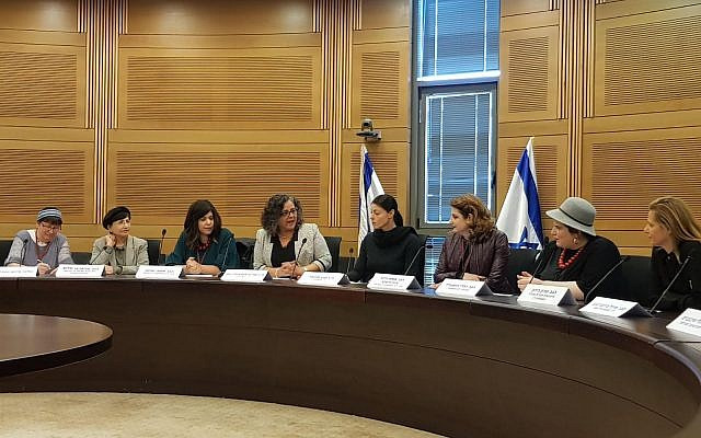 The first lobby of ultra-Orthodox women, initiated by Nivcharot, at the Knesset. May 2018. (courtesy, Nancy Strichman)
