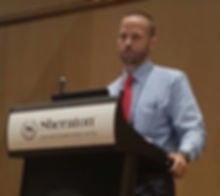 Daniel Patterson, PhD, NRP, addresses attendees at the National EMS Safety Summit during his presentation on fatigue in EMS providers. Photo A.J. Heightman