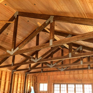 STAINED SOUTHERN YELLOW PINE GLULAM TRUSSES W/ DOUGLAS FIR DECKING