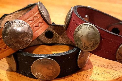 Buffalo Nickel Leather Bracelet
