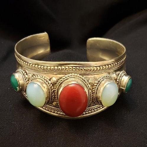 Tibetan Stone Cuff Bracelet