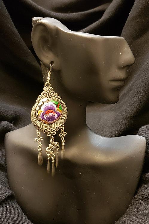 Bohemian fabric & metal earring