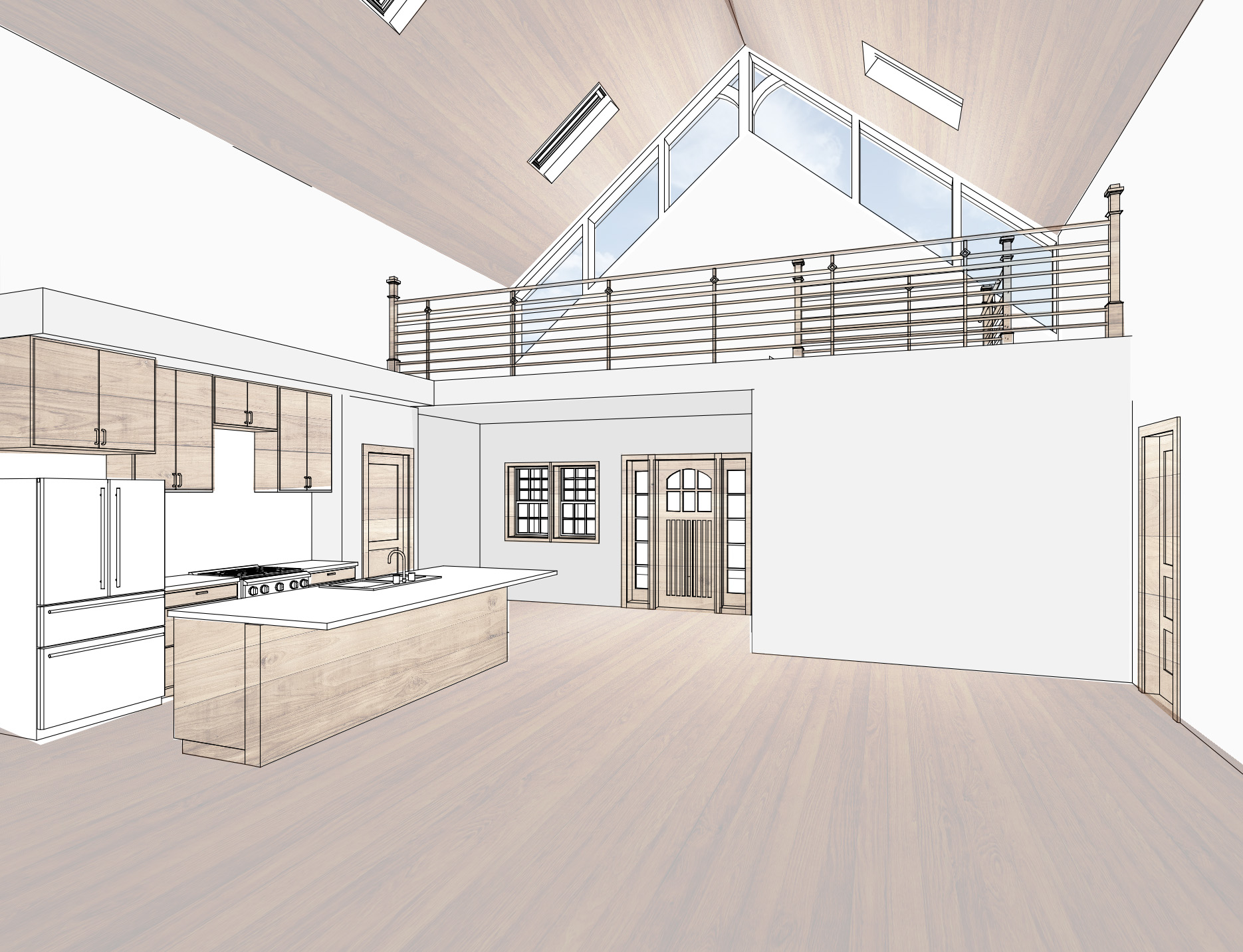 3D View Kitchen and entry
