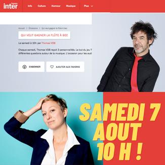 """Invitée du quizz musical de Thomas VDB """"Qui veut gagner la flûte à bec?"""" France Inter 07/08/21"""