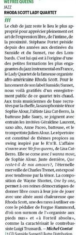 Rhoda Scott Lady Quartet, We Free Queens Télérama, Michel Contat Mars 2017
