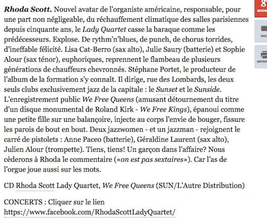 Rhoda Scott Lady Quartet, We Free Queens Libération.fr, ça va jazzer Bruno Pfeiffer, mars 2107