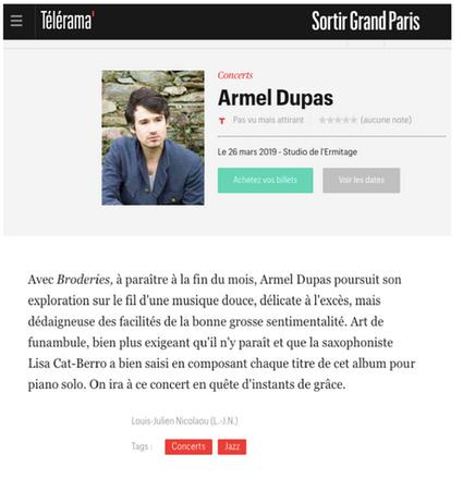 """Sortie du disque """"Broderies"""" d'Armel Dupas, Compositions Lisa Cat-Berro (Stereodisque), Télérama Sortir, mars 2019, Louis-Julien Nicolaou"""