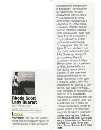 Rhoda Scott Lady Quartet, We Free Queens Jazzmagazine, Katia Touré mars 2017