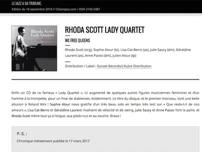 Rhoda Scott Lady Quartet, We Free Queens Citizen Jazz, Philippe Méziat Mars 2017