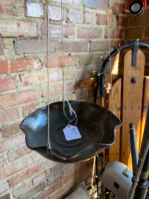 Hanging Pottery Birdfeeder