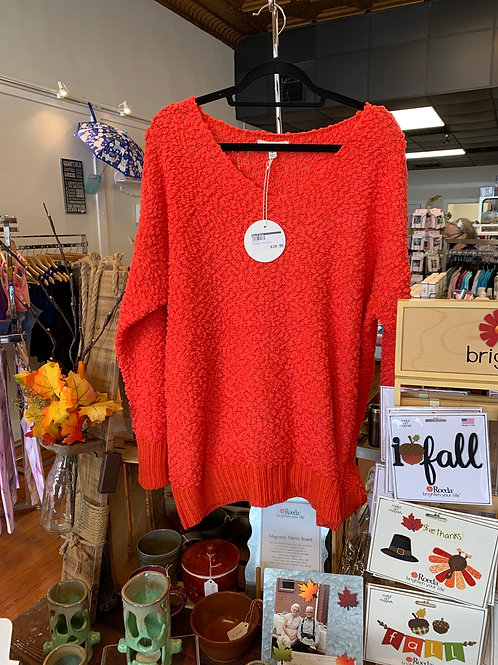 Orange Popcorn Sweater
