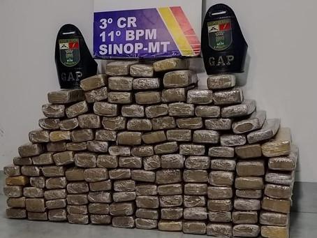 PM apreende 125 tabletes de maconha avaliada em R$ 200 mil em Sinop