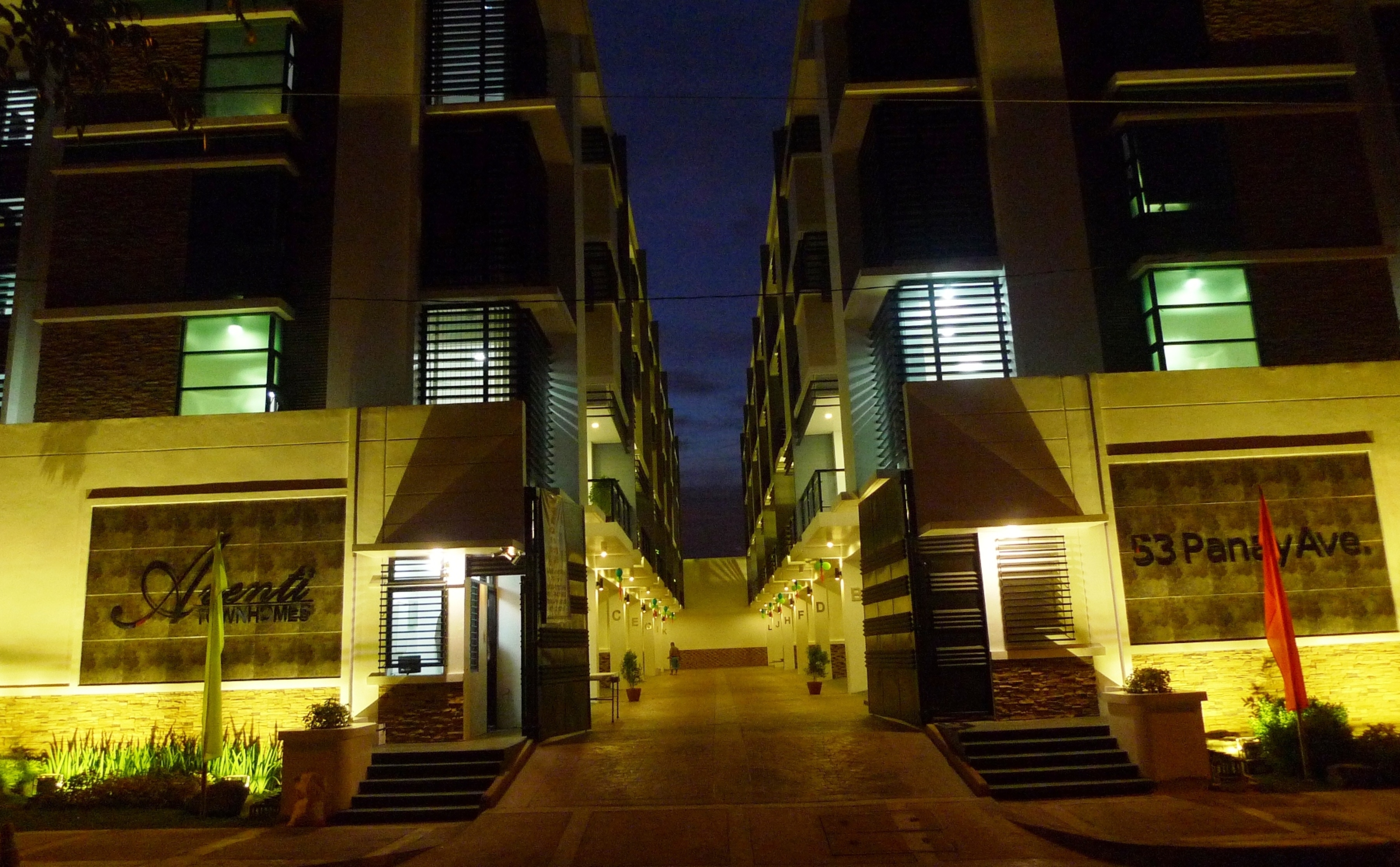 Night View of Aventi Townhomes