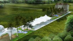 Pavilions in theme park