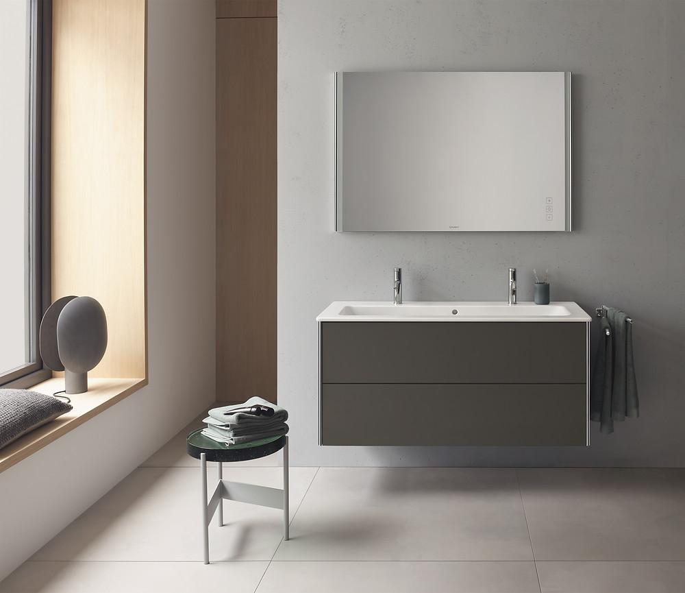 modern grey bathroom with floating vanity unit and mirror
