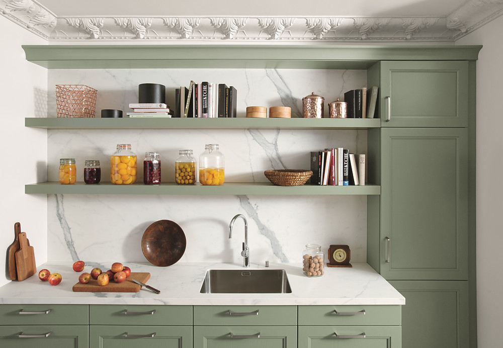 mint green kitchen design idea with marble splashback feature and storage shelves