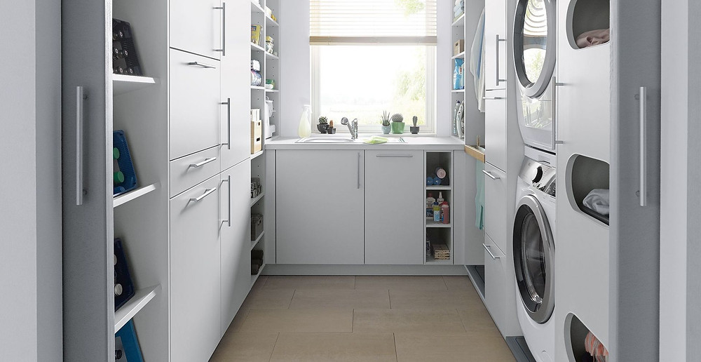 modern white luxury utility room with extra storage space