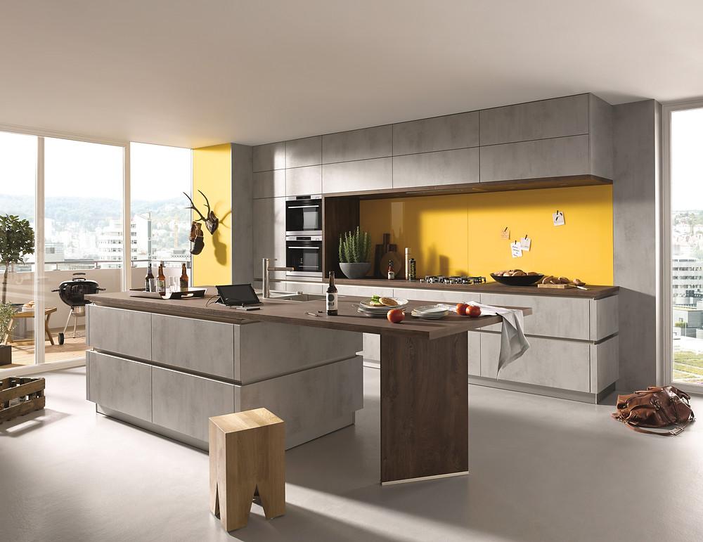modern grey kitchen design with yellow backsplash feature