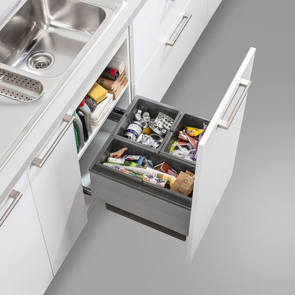 Schüller 3-part waste sorting drawer storage solution for a luxury kitchen