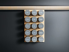 Magnetic holder for 15 spice containers available in natural oak, stainless steel colours or onyx black