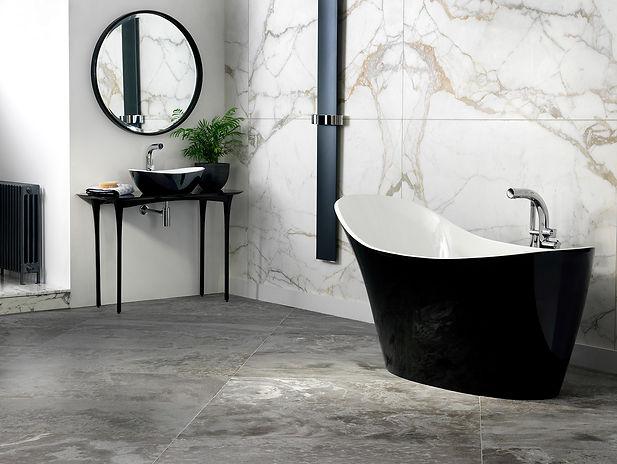 luxury bathroom design with black bathtub
