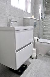 modern grey and white bathroom