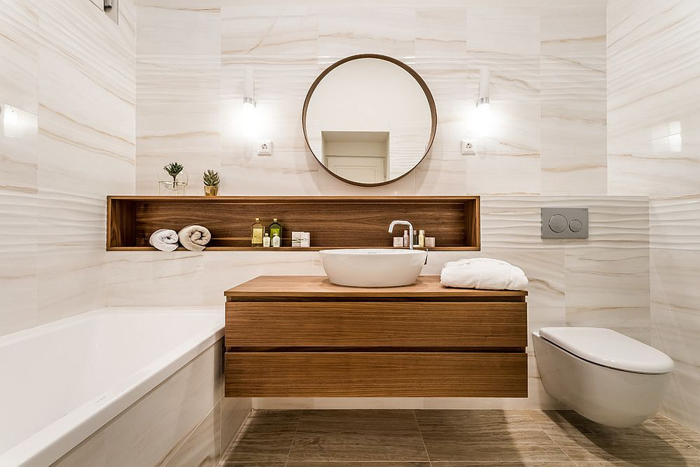 modern white bathroom with wooden furniture