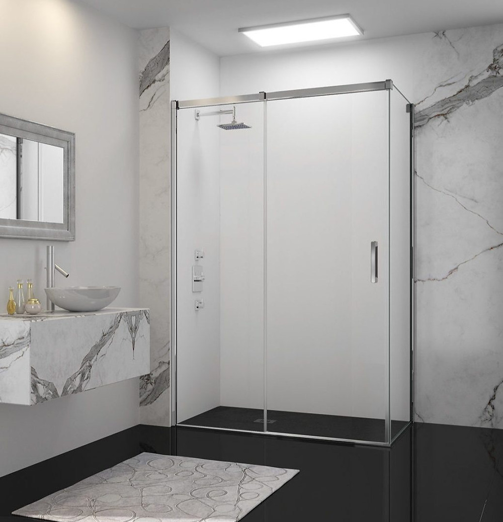 marble white bathroom with shower and glass doors