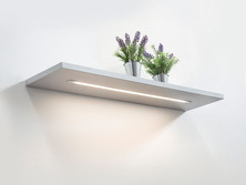 Support panel shelves with LED linear lights