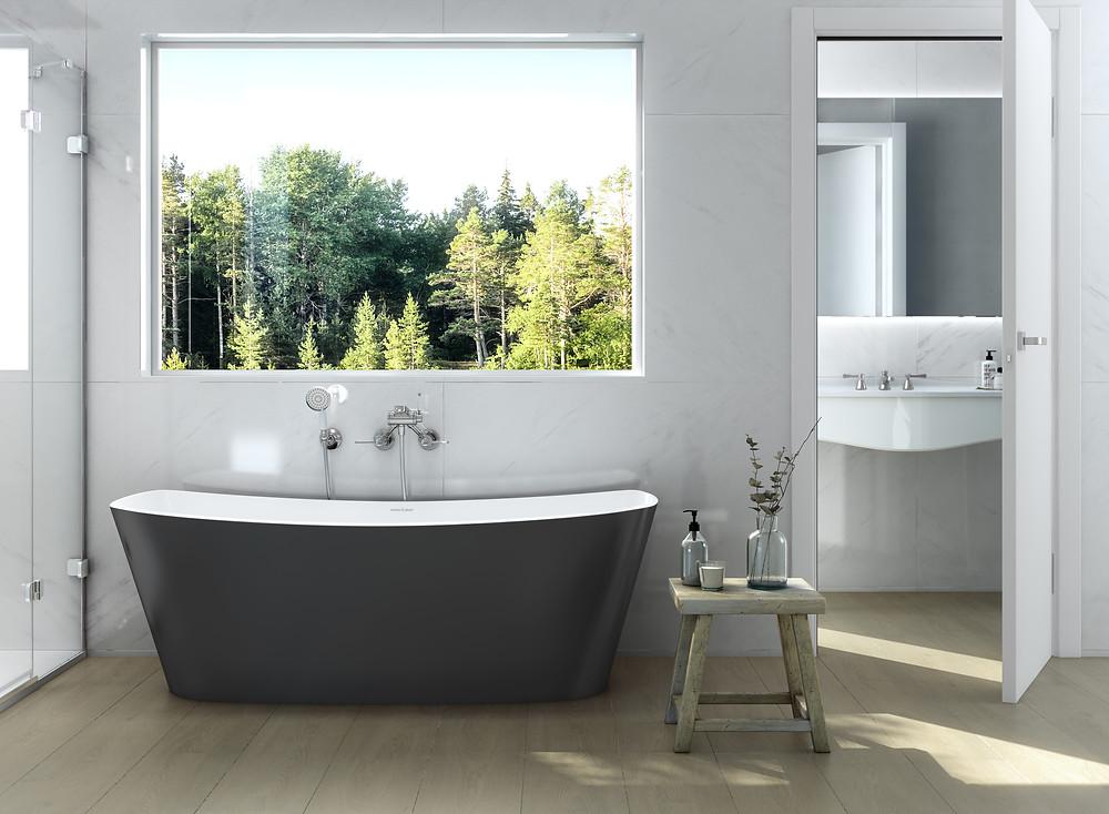 modern simplistic bathroom design with black freestanding bathtub