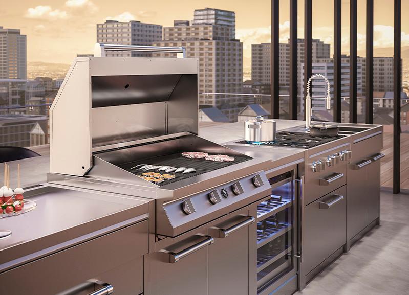 outdoor rooftop steel cucine kitchen set up